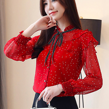 Women Shirt Bow Ruffles Fall 2019 New Korean Print Polka Dot Chiffon Top Red Black Long Sleeves Womens Clothing 11H