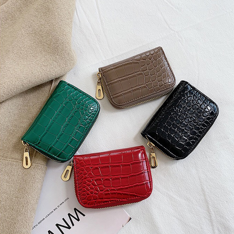 Crocodile Card Holder Purses Women Wallets New Vintage Fashion Luxury Design ID Businiss Credit Cards Case Coin Pockets Female