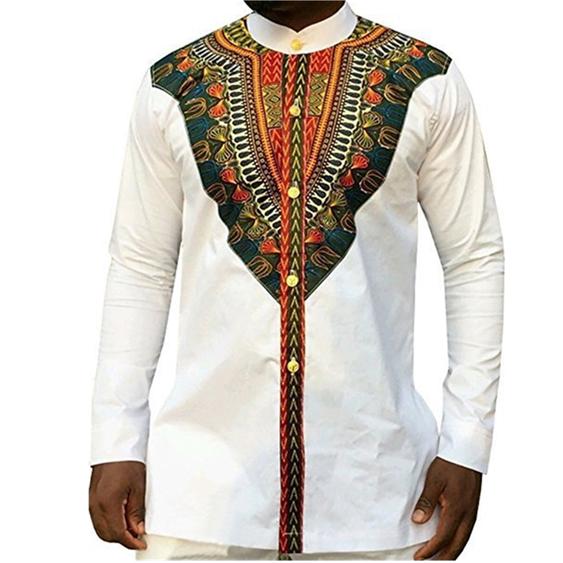 2019 Fashion Men's African Clothes Rich Bazin White Personalized Print Long Sleeve Shirt Kenya Nigeria South Africa Clothing