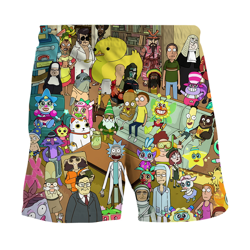 2020 Summer Men And Women Shorts 3D Cartoon Rick And Morty Printing Beach Pants Fitness Men's Shorts Brand Clothing