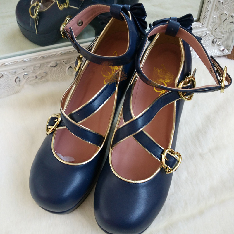 2020 New Design Blue White <font><b>Red</b></font> Snow White <font><b>Lolita</b></font> <font><b>Shoes</b></font> for Women Girls Students PU Leather <font><b>Shoes</b></font> Round Toe <font><b>Shoes</b></font> image