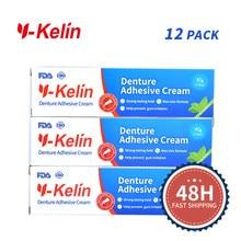 Venda quente y-kelin dentadura creme adesivo forte segurar 40 grama 12 pacotes para dentaduras superiores e inferiores extra-forte seguro