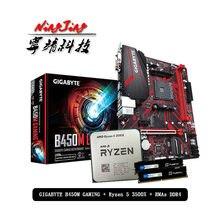 Carte mère de gaming AMD Ryzen 5 CPU + Gigabyte, avec Pumeitou DDR4, prise de ram AM4 2666MHz, sans ventilateur, R5 3500X + GA B450M, composant électronique pour ordinateur, accessoire de joueur,