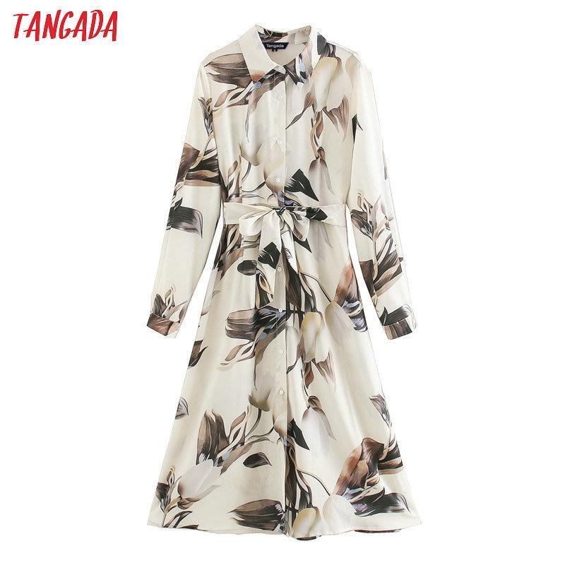 Tangada women elegant chiffon dress printed turn down collar long sleeve 2020 korean fashion office lady midi dresses XN278