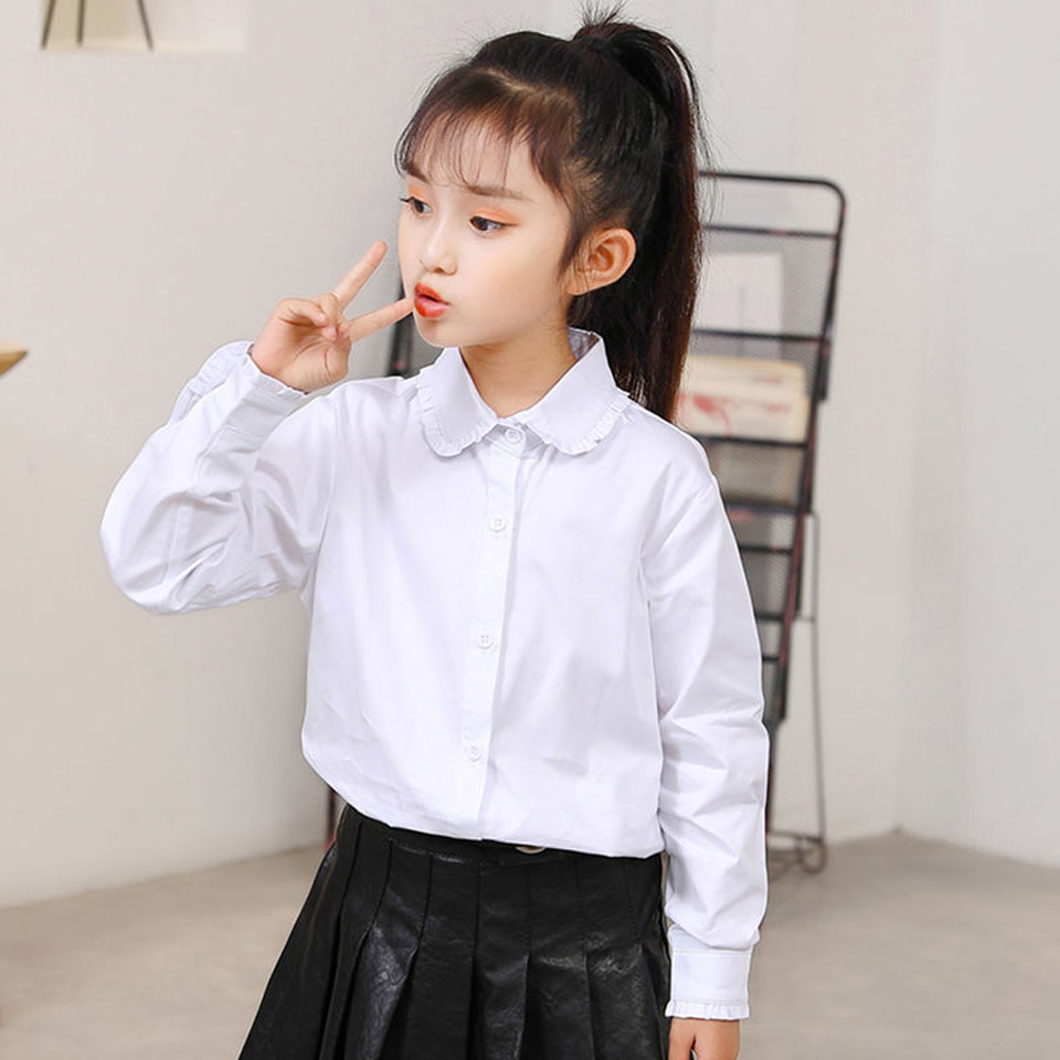 Новинка 2021, демисезонные детские рубашки для девочек 3-12 лет, официальная рубашка для девочек, детская однотонная хлопковая блузка для девоч...