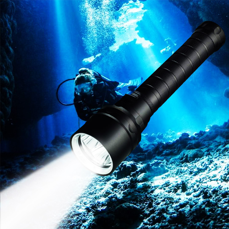 ZK20 Diving Flashlight T6  Underwater LED Flashlights 100M Scuba Safety Dive Light Torch For Under Water Sports