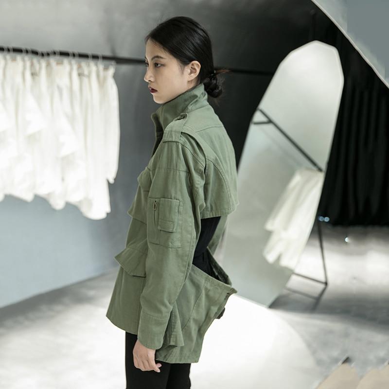[EAM] Loose Fit Back Irregular Two Ways Wear Big Size Jacket New Lapel Long Sleeve Women Coat Fashion Spring Autumn 2020 1DA902 6
