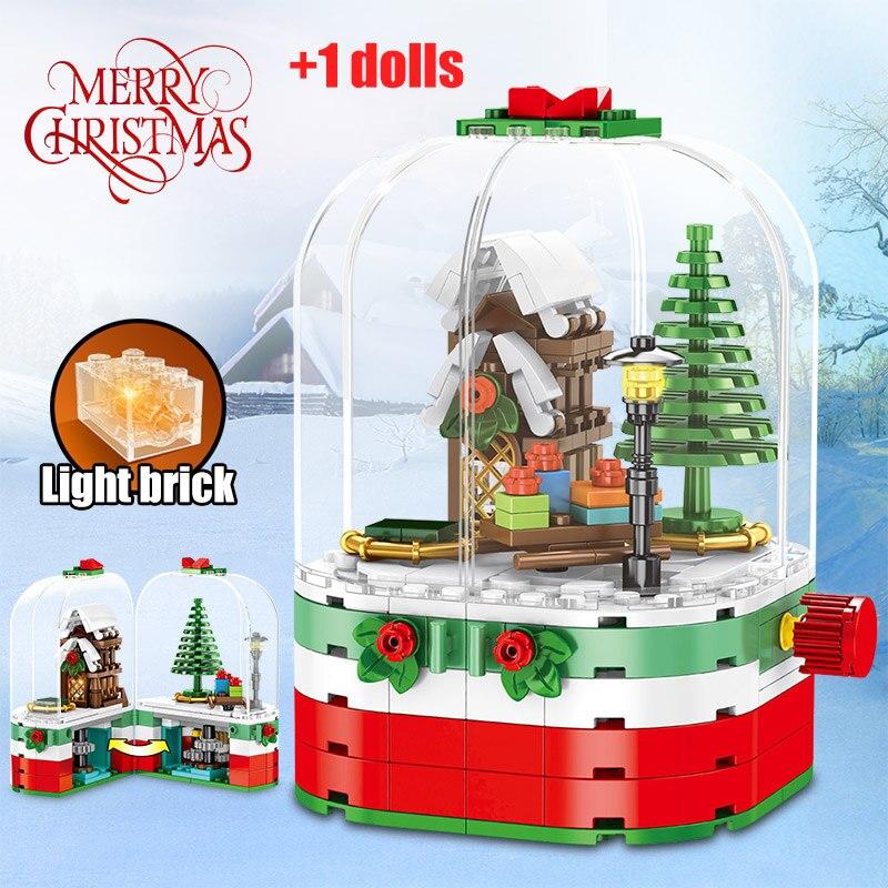 Frohe Weihnachten Thema Geschenk Santa Claus Bausteine Legoing Weihnachten Rotierenden LED Glänzende Hütte DIY Ziegel Spielzeug Für Kinder