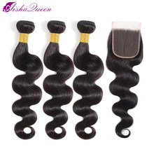 Aisha Queen Body Wave Bundles With Closure Brazilian Hair Weave Bundles With Closure Non Remy Human Hair Bundles With Closure(China)