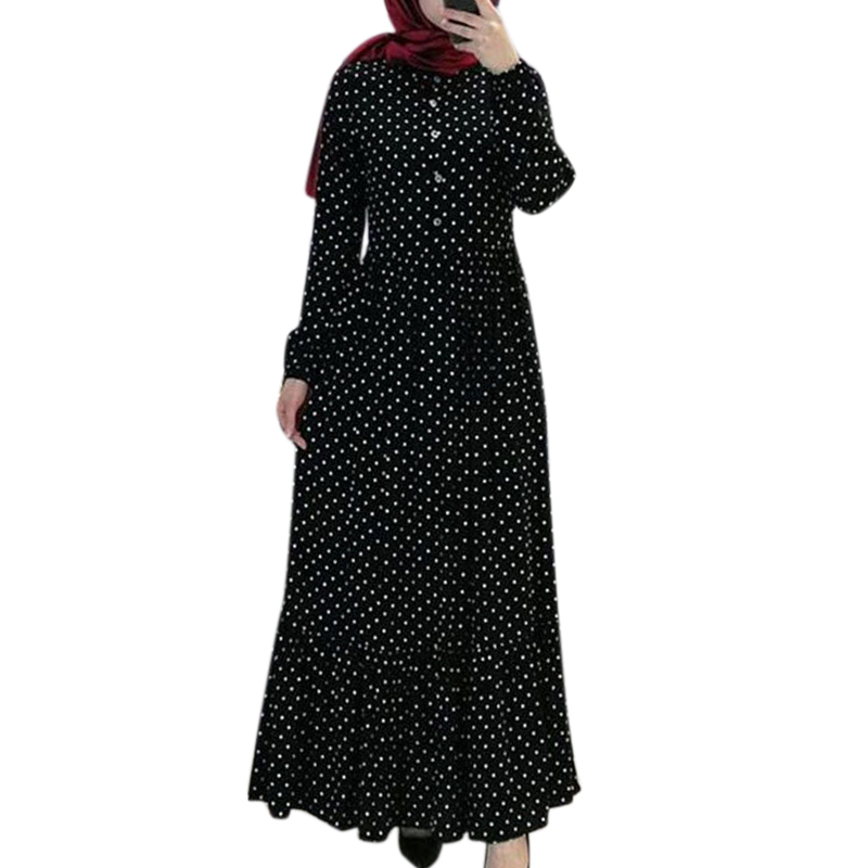 Abaya Dress Women Eid Muslim Dress Ramadan Party Clothes Dubai Turkey Muslim Dot Dresses Women Clothing For Ramadan Dresses #w image
