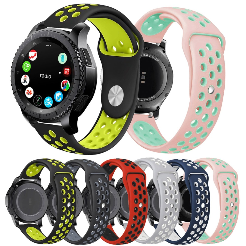 22MM Silicone Sport Band for Samsung Galaxy Watch 42/46 mm Rubber Strap for Gear S2/S3 20/22 mm Band