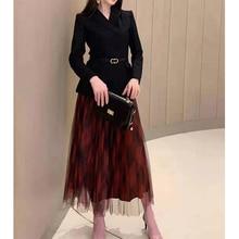 Cosmicchic 2019 mujeres otoño Blazer falda 2 piezas conjunto de manga larga de lana cinturón chaqueta rojo Plaid malla Falda plisada Midi faldas traje