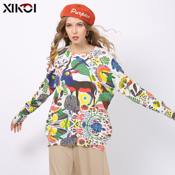 XIKOI Fashion Novel Animal Print Sweater For Women Winter Long Sweater Oversized Pullovers Casual Knitted Plus Size Jumper Top women black white dairy cow print oversized sweatshirt plus size streetwear casual hoodies jumper top loose pullovers