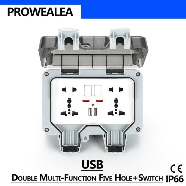 Weatherproof Socket IP66 USB Double 5Hole Standard Switch Waterproof Socket Outdoor Wall Power Socket Electrical Outlet Grounded