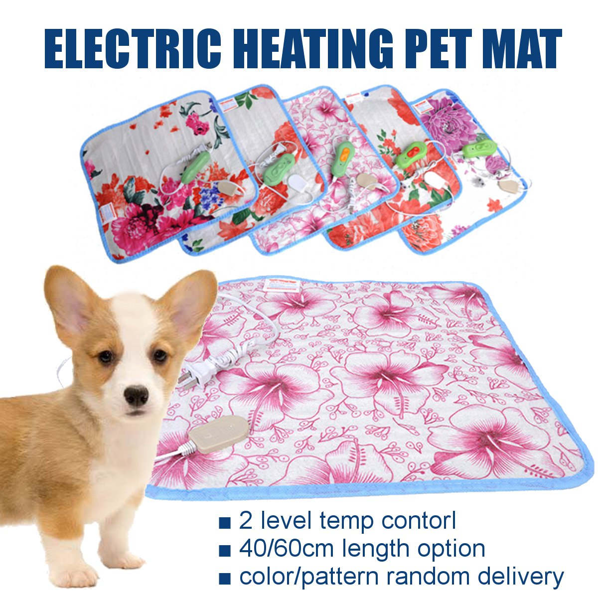 Adjustable Electric Heating Pad Blanket 40x40/60cm Pet Mat Bed Dog Winter Warmer Pad Home Office Chair Heated Mat 220V Random