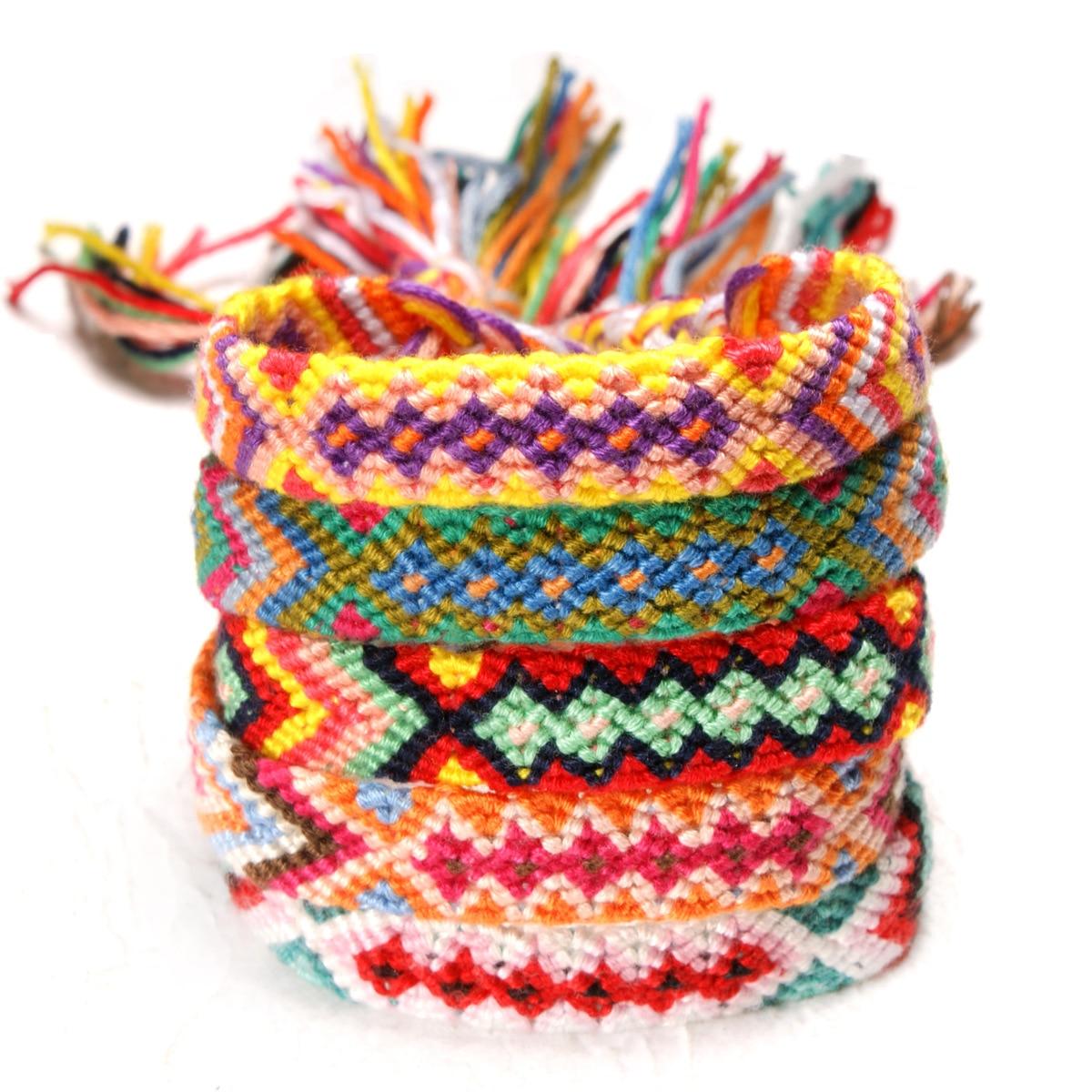 New Boho Rainbow Braided Plaited Ribbon Bracelet Geometric Pattern Cotton Rope Chain Friendship Bangles Handmade Woven Jewelry