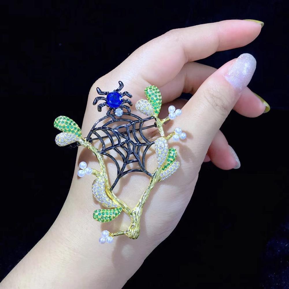 Broche araignée et arbre broches 925 en argent sterling avec zircon cubique toile d'araignée naural perle d'eau douce broche bijoux de mode