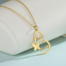 Necklace Women Jewelry Pendant Gifts Custom Nameplate Heart-Shaped Stainless-Steel Butterfly