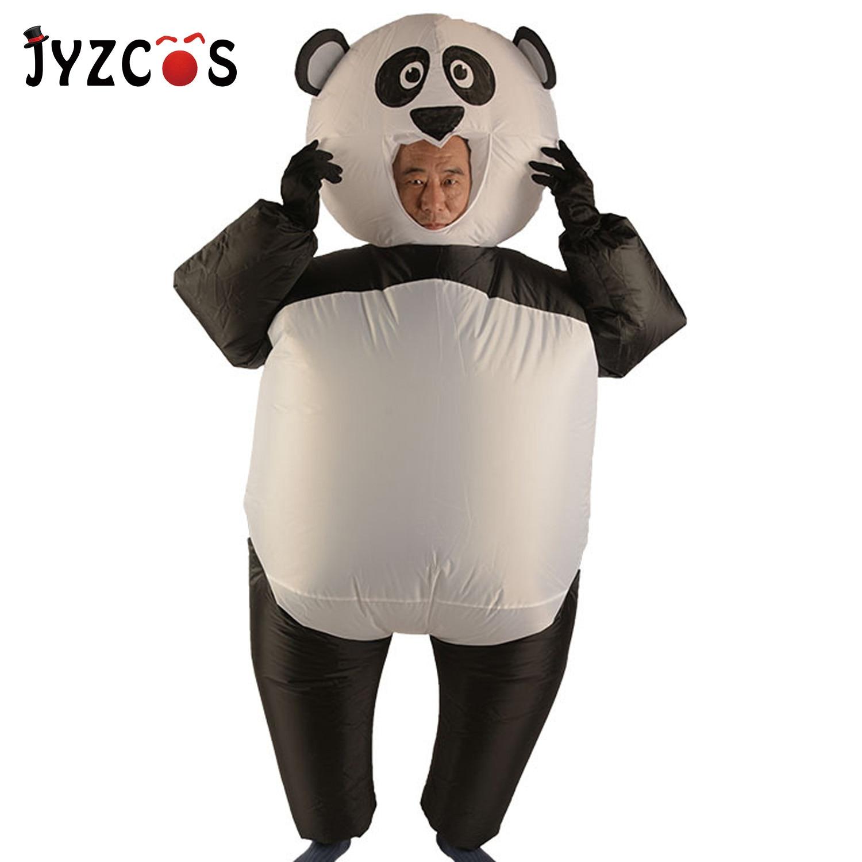 JYZCOS милый мультяшный надувной Панда Костюм Аниме Косплей наряд с перчаткой Хэллоуин вечерние Fncy комбинезон для взрослых детей
