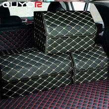 سيارة حقيبة التخزين بولي Leather الجلود جذع المنظم صندوق حقيبة التخزين للطي للطي سيارة جذع تستيفها tidie ل سيارة SUV