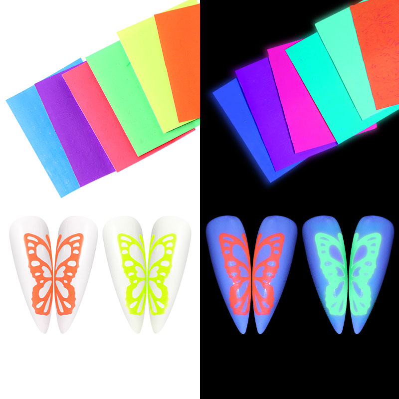 6Pcs/Set Hot Butterfly Nail Sticker Fluorescent Butterfly Self-adhesive Nail Art Stickers Glow In The Dark Manicure Decorations