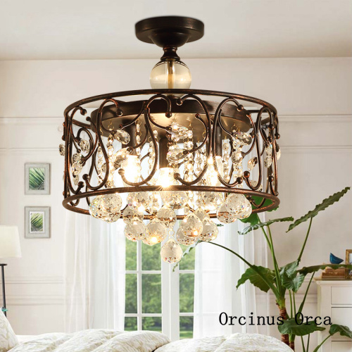 Nordic luxury LED crystal ceiling lamp living room corridor bedroom modern creative black ceiling lamp free shipping|Ceiling Lights| |  - title=