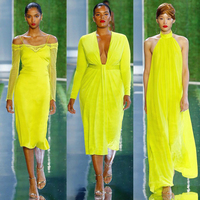 2019 New Arrival Fashion Long Sleeve Lace Dress Women Yellow Satin Bodycon Dress Summer Elegant Evening Party Dresses Vestido
