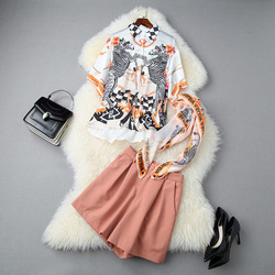 2020 Summer WOMEN'S Dress New Style Printed Loose Shirt with Silk Scarves + High-waisted Wide-Leg Shorts Fashion Set 10986