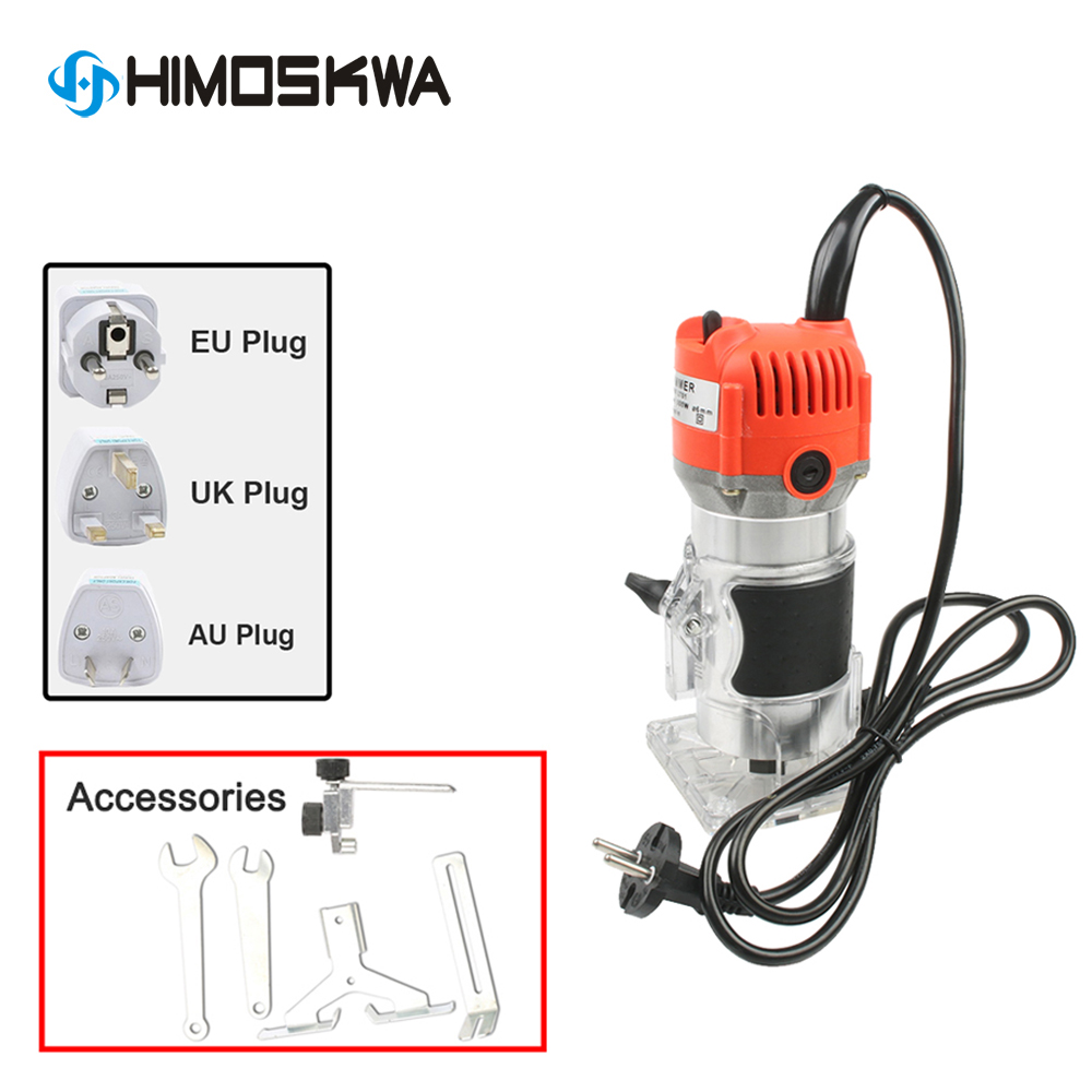 800W  Aluminum Housting Power Tools Woodworking Trimmer Slot Machine Woodworking Tools Engraving And 12 Pcs Die Sets