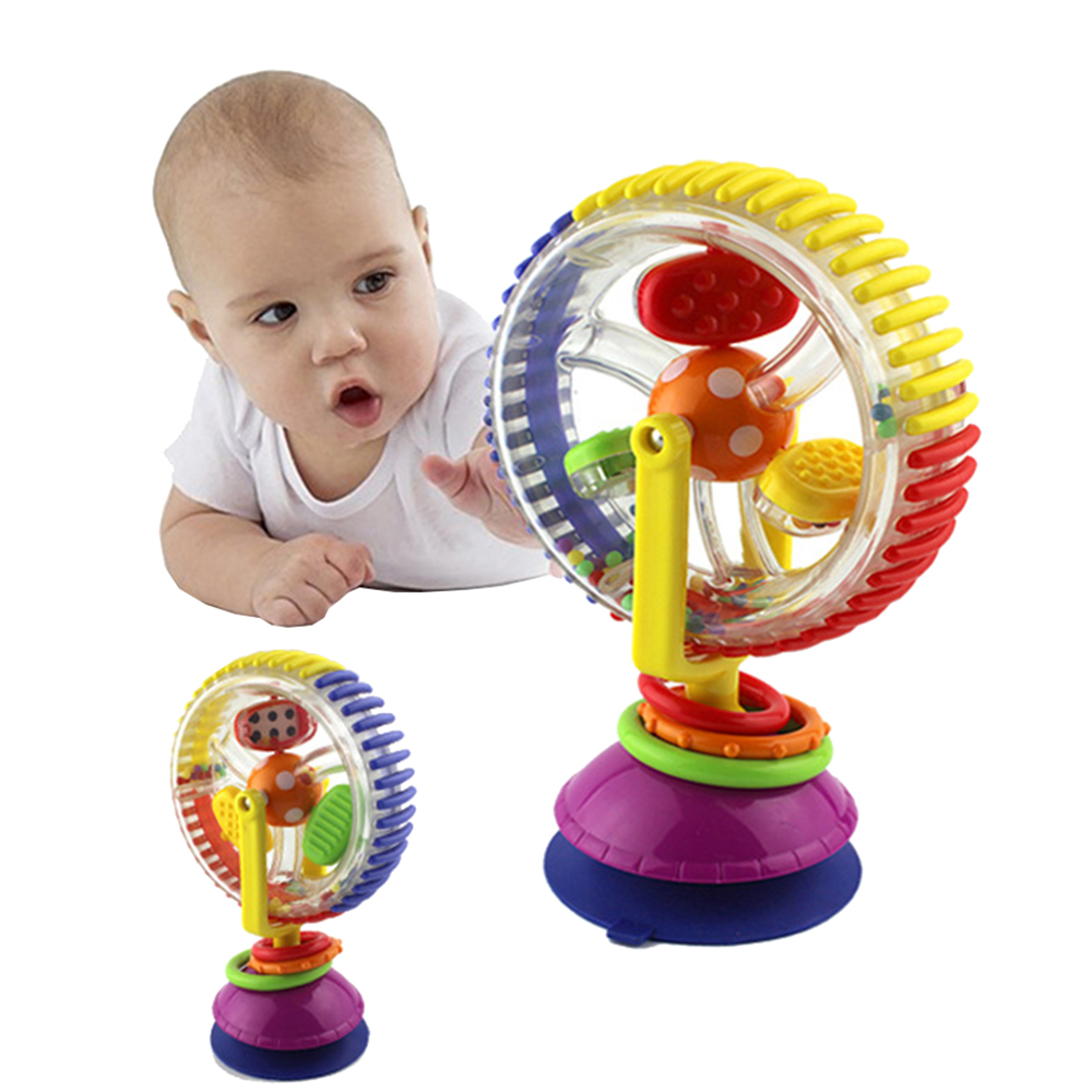 Baby Rattle Toys Three-color Model Rotating Windmill Noria Stroller Dining Chair With Suction Cups Educational Toys For Baby
