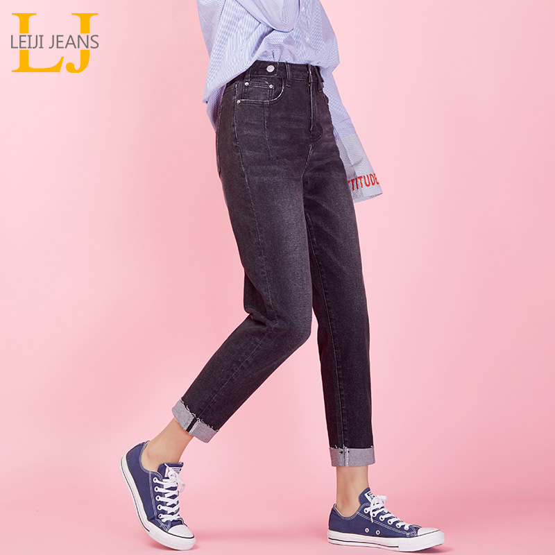 LEIJIJEANS NewLarge Size Women's High Waist Black Harem Pants Cuffed Trousers Cool Cool Head Button Fashion Ladies Jeans  9028