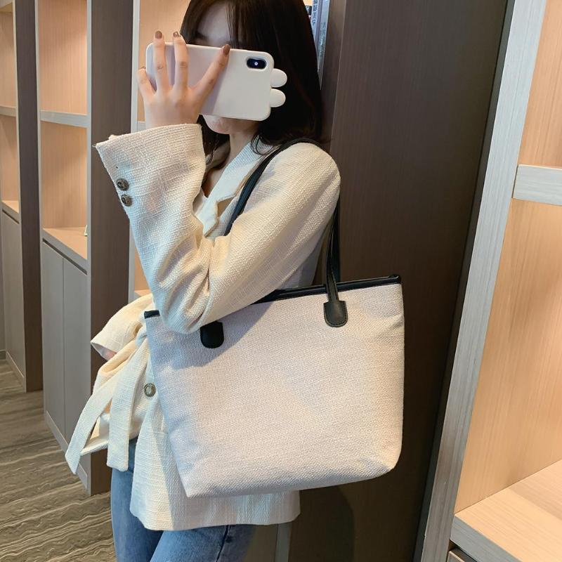 Casual Canvas Handbag Women Large Capacity Tote Shopping Pure Color Fashion Ladies Shoulder Bag