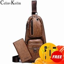 Celinv Koilm Beroemde Merk Mannen Casual Daypacks Hoge Kwaliteit Hot Crossbody Borst Bag Man Lederen Sling Tassen Voor Outdoor reizen