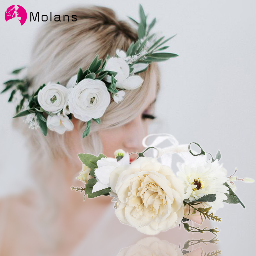 Molans White Faux Peony Headbands Romantic Bridal Stimulated Flower Crowns Headpiece For Wedding Solid Chic Floral Crown Boho