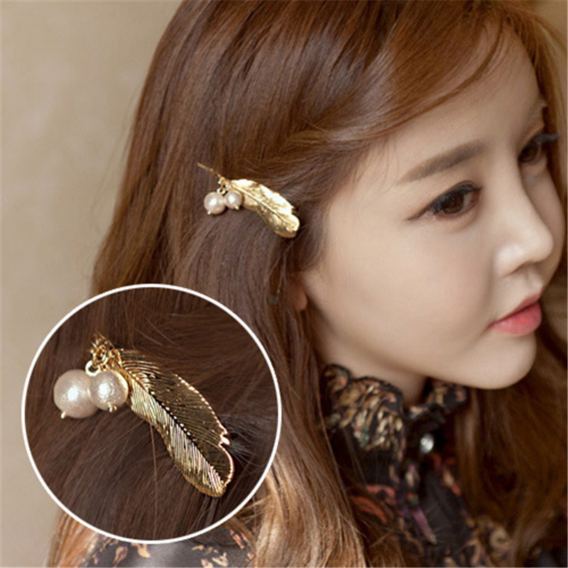 New Fashion Big Pearl Hair Clip For Women Elegant Gold  Silver Feather Shape Alloy Barrettes Girls Hair Accessories Headwear