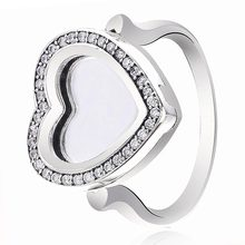 New 925 Sterling Silver Ring Pave Love Heart Locket With Clear crystal Rings For Women Wedding Party Gift Fine Europe Jewelry(China)