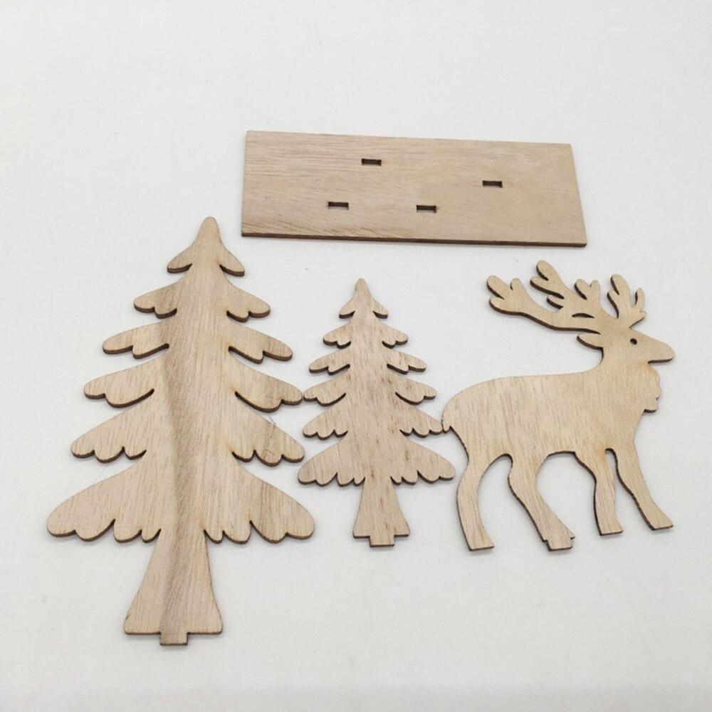 Adornos de árbol de Navidad de alce de madera de Año Nuevo manualidades Decoración de mesa decoración de Hotel Celebración de Navidad decoración para el hogar - 5