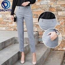 Серые Костюмные брюки карандаш для женщин модные офисные элегантные