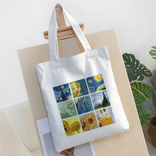Nine Grid Van Gogh Flower Letter Cartoon Print Shoulder Canvas women Bag Handbag