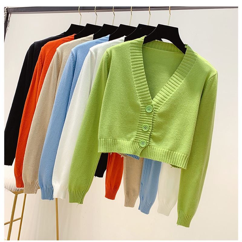 New Spring Autumn Women Knit Cardigan Sweater Coat Short Korean Style 2019 Female V-neck Casual  Knitted Jackets 7 Colors