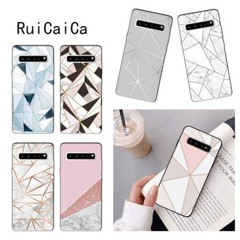 RuiCaiCa geometry Rose Gold Marble aesthetic Shell Phone Case for Samsung Note 3 4 5 7 8 9 10 pro 10plus 10lite image