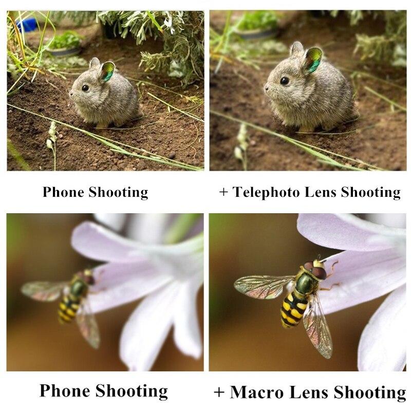 4 en 1 Kit de lente de cámara de teléfono sin distorsión Objetivo Macro de gran angular de ojo de pez con Clips Lentes para la mayoría de Smartphones - 5