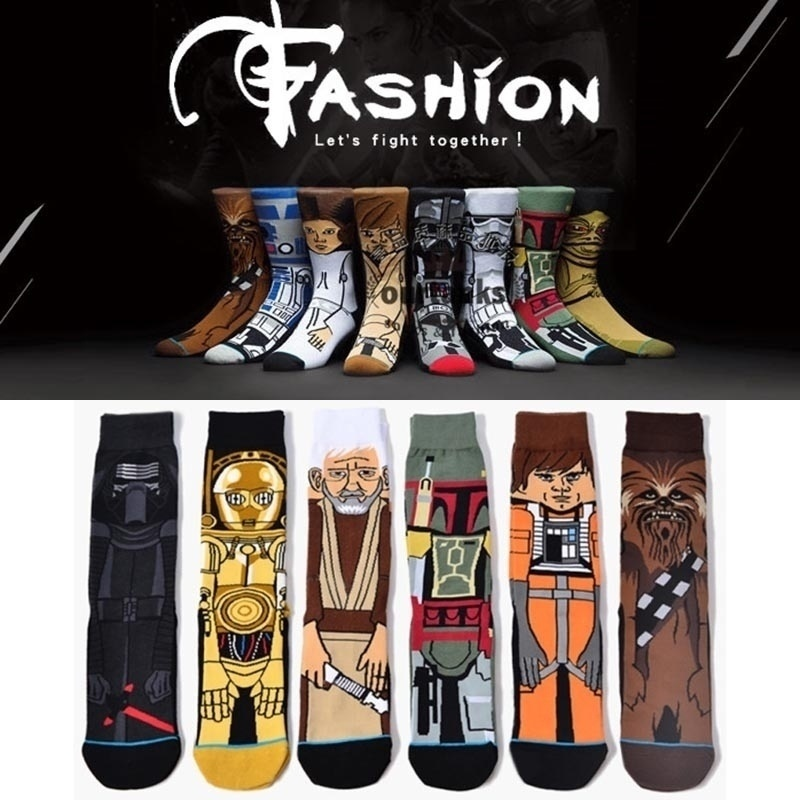 Skateboard Star Wars Socks Men Cartoon Motion Cotton Socks Christma Gifts For Men Stocking Stuffers Mens Dress Socks Meias Skate