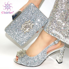 Silver Color Fashion Wedding Lady Shoes And Bag Set Latest M