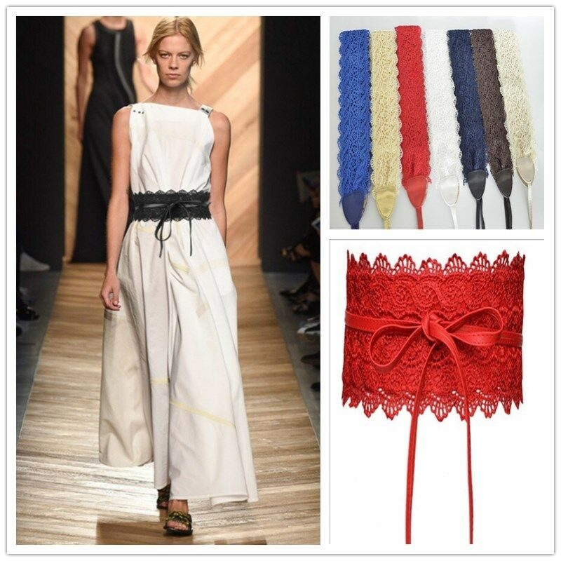 2020 Womens Stretch Buckle Waist Belt Lady Wide Lace Elastic Corset Waistband Black Blue Orange White Red