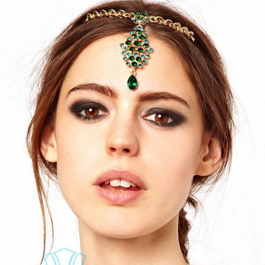 Fashion Drop National Emerald Green Hairpin Chain Headdress Chain Crystal Headband Bridal Crown Headpiece Hair Pin Royal Tiara