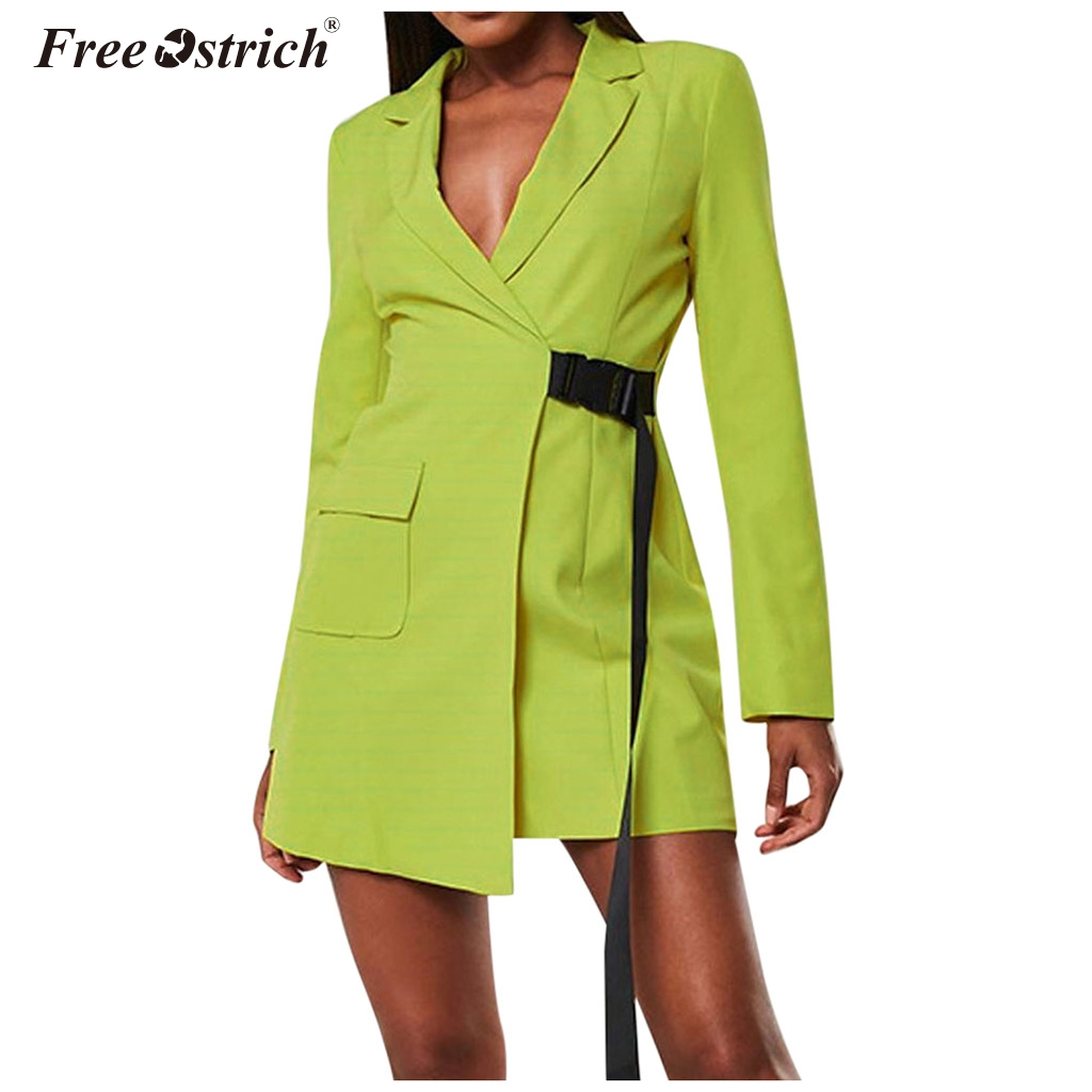 Free Ostrich Women Casual Coat Lapel Slim Cardigan Outdoor Office Work Suit Basic Jackets Spring Autumn Ladies Outwear Coat N30