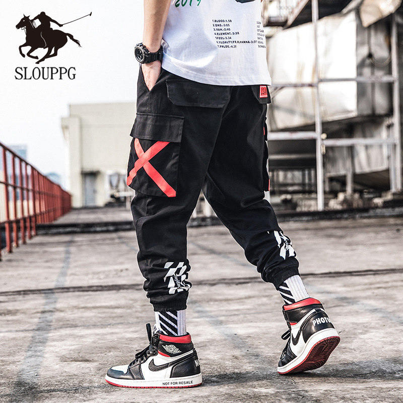 SLOUPPG Mens Fashion Military Cargo Joggers Camo Cargo Pants Men Jogger Harem Pants Camouflage Streetwear Pockets Trousers Men