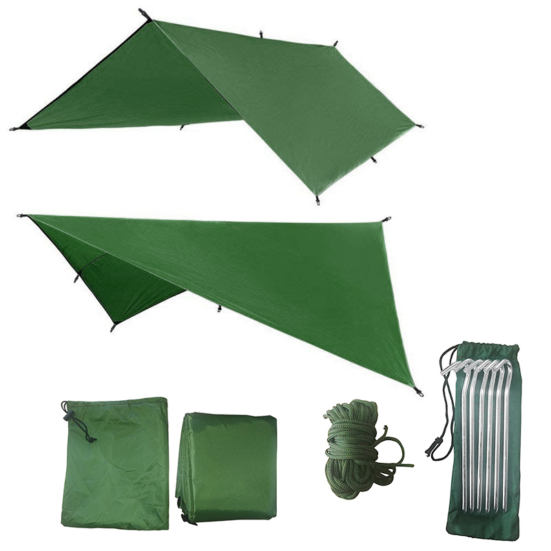 ARRIES 3Mx3M Sun Shelter Fly Tarp Awning Hanging Outdoor Waterproof Tent Hammock Camp Rain Ultralight UV Garden Canopy Sunshade
