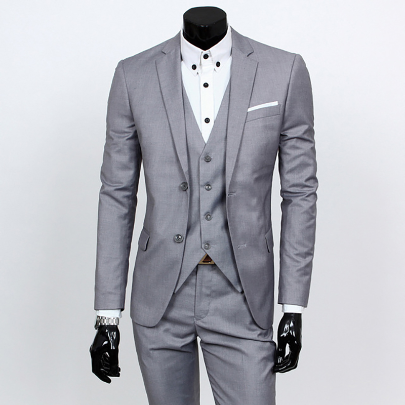 New 3pcs Wedding Suits For Men Three-piece Suit Slim Korean Casual Suit Business Dress Groom Wedding Dress Groomsmen Clothes